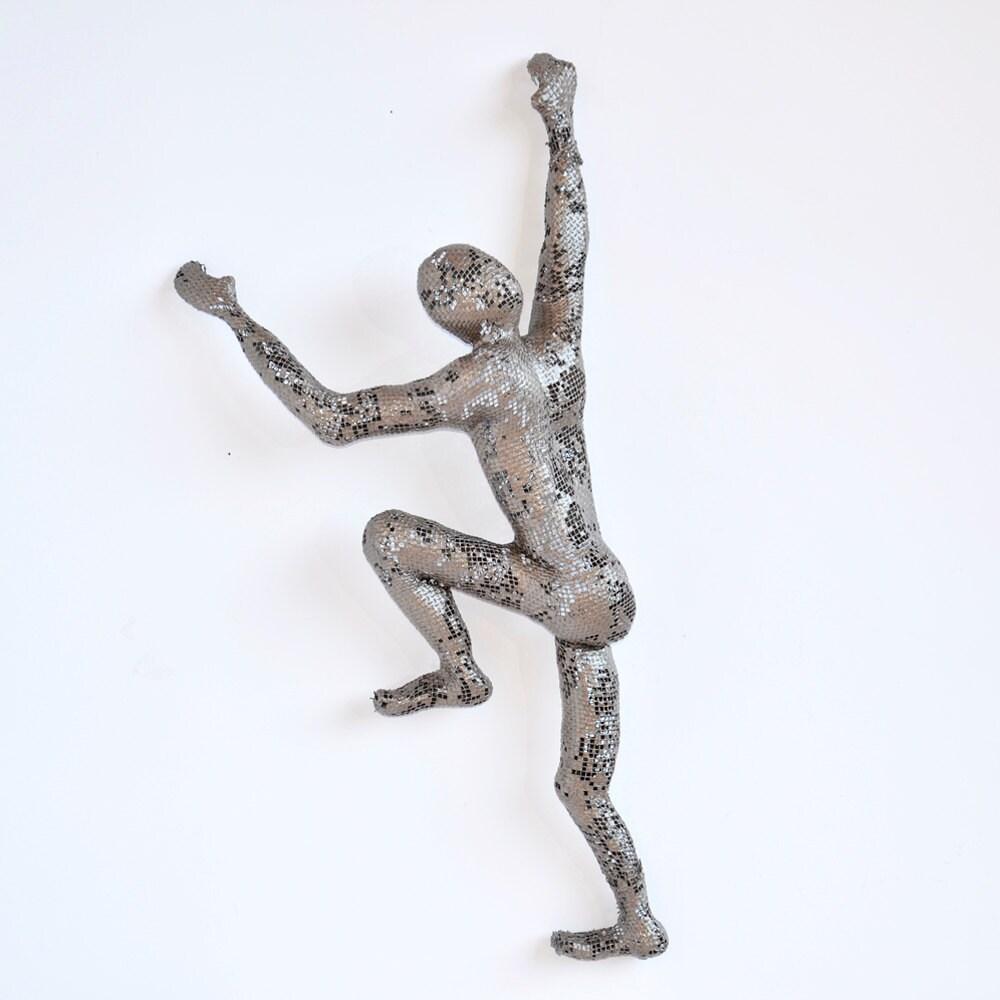 Climbing Figure Metal Wall Art Unique Gift Wire Mesh