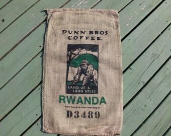 Coffee Bag, Dunn Bros Burlap Gunny Sack, Rwanda Ape, Advertising, Home Decor DIY