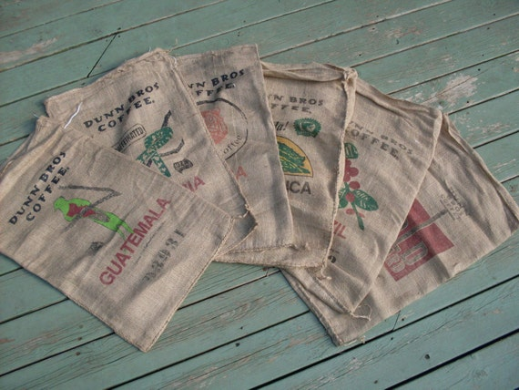 Burlap coffee bags set of 6 dunn brothers rustic by Burlap bag decorating ideas