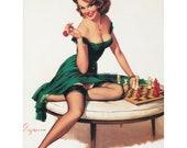 Pinup Girl Fabric Block Repro Elvgren Chess Player Risque Redhead Cotton Applique