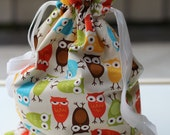 Drawstring Bag / Library Bag - Bright Owls on Cream