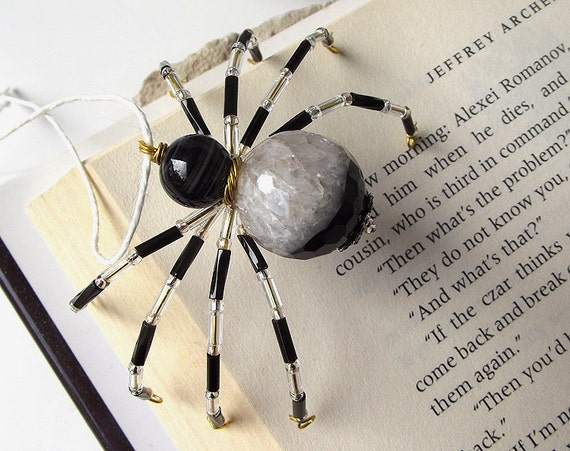 Pretty Beaded Christmas Spider Ornament -- Black/Clear