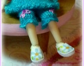Pastel Multi-Color Floral Shoes for Amelia Thimble-Izzy-Tiny BJD-Cloth-Hand Made Shoe