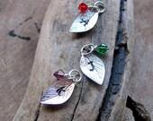 Silver Custom Leaf - Swarovski Crystal Add on - Initial Leaf Charm - Personalized Leaves - Necklace Birthstone
