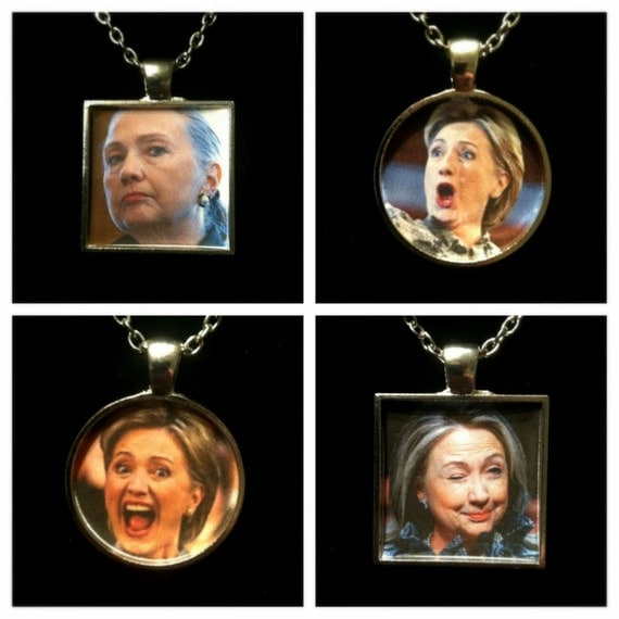 The Many Faces of Hilary Clinton (4 Pack)  Necklaces or Keychains- part one