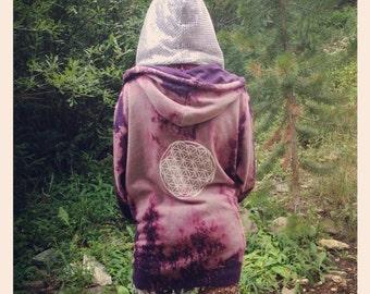 OOAK Hand Painted Cosmic Nomad Hoodie /  burning man hippie bohemian festival snowboard sacred geometry flower of life psychedelic