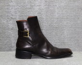 Vtg 90s Brown Leather Mod Chelsea Beatle Ankle Boots 36 6 6.5