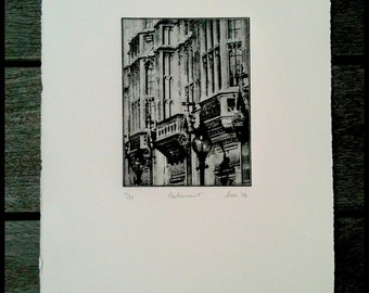 Victorian London gas light original handpulled etching