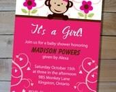 Monkey Baby Shower Invitation - Choose Your Colours - DIY Printable Invitation