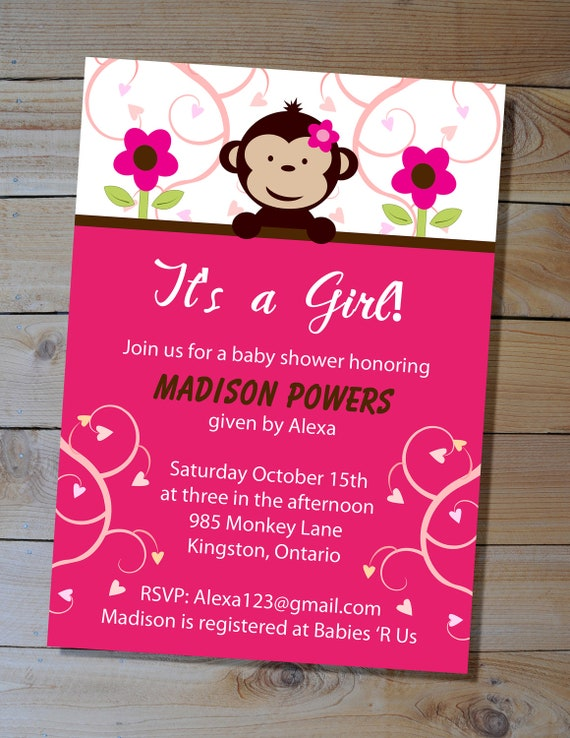 Monkey baby shower invitation choose your colours diy etsy filmwisefo