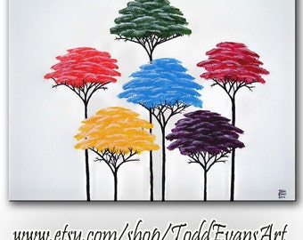 SALE Colorful Wall Art 16x20 Original Painting Canvas Art Tree Painting Tree Art Home Decor Canvas Wall Art Canvas Painting