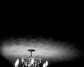 Black & White Fine Art Photography, Chandelier, vintage light fixture, dark, dramatic home decor, contrast