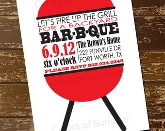 BBQ Invitation, BBQ invite, Bar B Que Invitation, Bar B Que, BBQ Grill Invitation, Backyard Bar-B-Que, Cook Out, Picnic, Food - Digital File