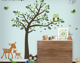Children Wall Decal with Owl Tree, Birds, Deers, and Squirrel - Forest Friends Wall Stickers - 0075