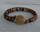 Wrapped Leather Bracelet with Tiger's Eye, Brass & Vintage Button - Brown Bronze Gold Fall Autumn Thanksgiving