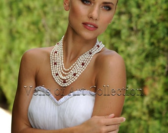 Pearls and Red Beads Bridal Necklace by Veils of Art Style VE402 Wedding Jewelry