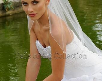 Swarovski Veil, Beaded Veil, Wedding Veil, Bridal Veil, Fingertip Veil VE313 CUSTOM VEIL