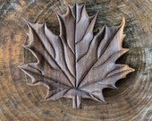 Hand Carved, Black Walnut Wood, Maple Leaf Serving Platter