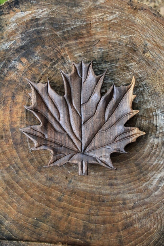 Hand carved black walnut wood maple leaf serving platter