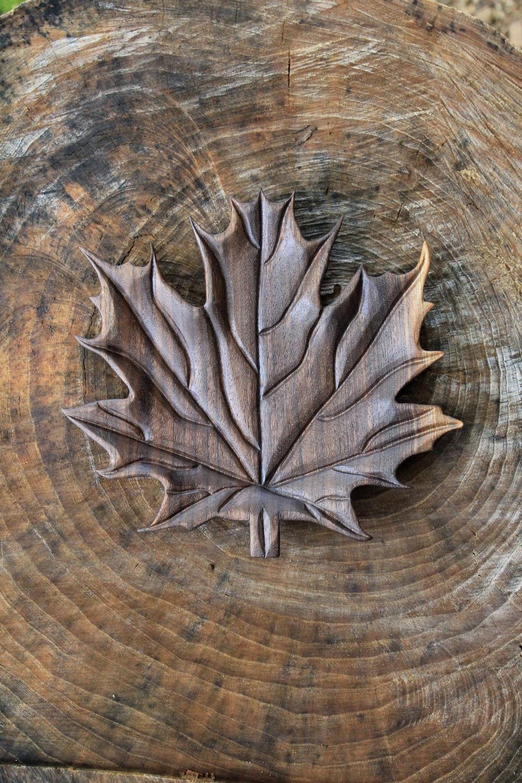 Hand carved black walnut wood maple leaf serving platter