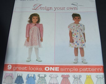 Simplicity 7993 Toddlers dress desihn your own sewing pattern -  UNCUT - sizes 2 3 4
