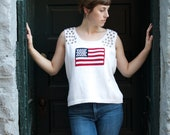Studded and Distressed American Flag Sweater Vest
