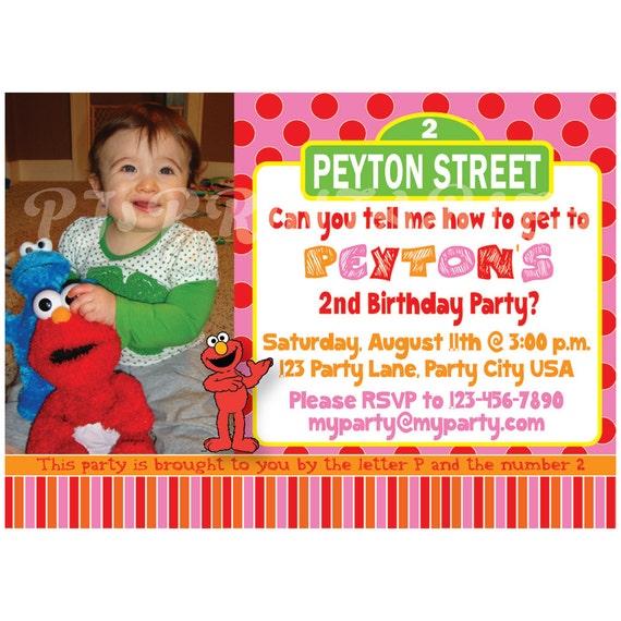 Girly Pink Elmo Sesame Street Birthday Invitation Custom – Custom Elmo Birthday Invitations