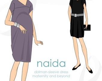 Maternity dress pattern: Naida maternity & beyond dolman sleeve dress maternity pattern, PDF
