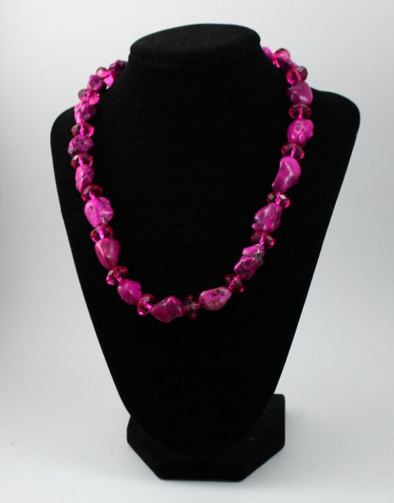 Chunky Pink Stone & Crystal Necklace