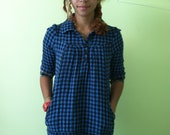 Electric Blue and Black Houndstooth Blouse
