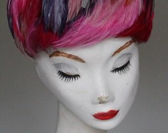"""60s Vintage Mod Multi-Color Feather Hat by Monsieur X- 22"""""""