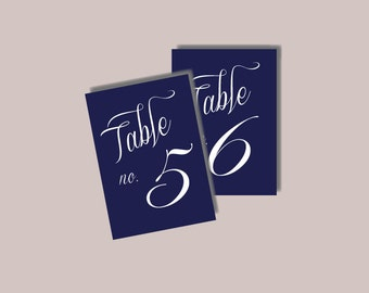 1-50 Instant Download - Nautical Modern Table Numbers in NAVY BLUE White - Modern Design DIY, Wedding reception (1-20), Classic Wedding