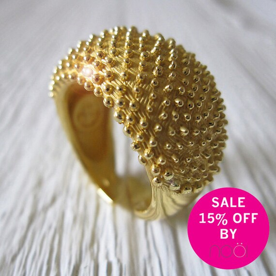 SALE 15% OFF until Sep 25, 2012 - Adjustable Handmade Ring in 925 Sterling Silver with 18 Kt Gold plating, Contemporary Engagement Ring