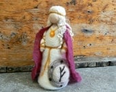Needle Felted FREYA, Frey, Freyja, NORSE MYTHOLOGY, Waldorf, Doll, mythological, steiner, study, Nature Table, Class room ornament
