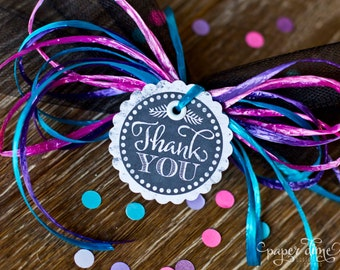 "INSTANT DOWNLOAD  Printable thank you tag 2 inch party circles labels vintage chalkboard | ""Thank You"" 