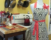 Ladies Full Two Pocket Black and White Apron with Pink Tie Ends, Neck Tie and Bow