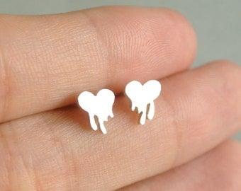 Silver Heart Earring, heart stud earrings, Initial Earrings, Letter Earrings, Personalized Earrings