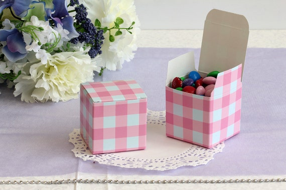 Wedding Check As Gift : 50x Pink Check Wedding Favor Cube BoxesBridal ShowerBaby Shower ...