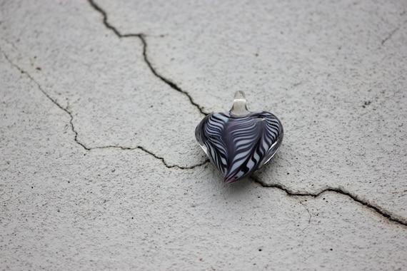 Heart of Glass. Murano Glass Heart. Black and White Focal Bead.
