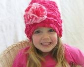 CUSTOM Girls Ruffled Cloche Pink Fleece Cloche with Flower Infant Winter Hat Ruffled Baby Bonnet MADE to ORDER