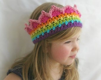 RTS Rainbow Crochet Crown Boutique Color Block Crown Rainbow Princess Crown READY to SHIP Baby 6-12 month Toddler 1-4 years Child 4-12 years