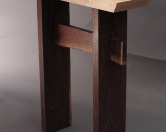 Narrow Side Table w/ Live Edge Stretcher: Handmade Custom Wood Furniture- Entry Table, Hall Table, Small Console Table- STATEMENT COLLECTION