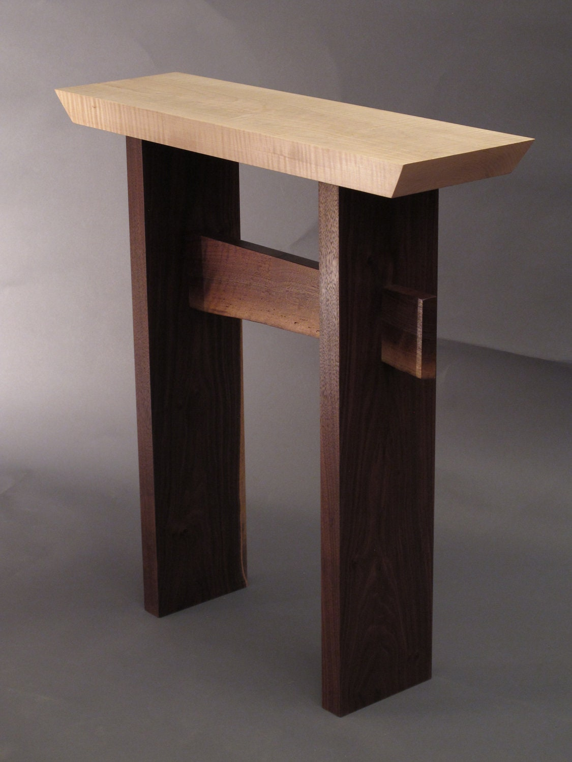 Hallway Console Table : Narrow Side Table w/ Live Edge Stretcher: by MokuzaiFurniture