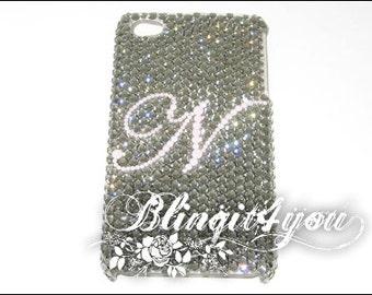 Custom Rhinestone Black Diamond Bling Letter Initial Back Case Cover for iPhone 5 SE 6 6S 7 Plus handmade w/100% Swarovski Crystal Elements