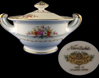 Vintage Noritake Mystery Pattern Covered Handled Sugar Bowl - Occupied Japan