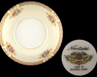 Antique Noritake Mystery Pattern Rimmed Soup Bowl - Occupied Japan