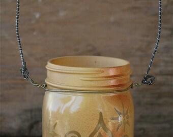 Mason Jar Lantern, Sun and Moon face with Swirls and Stars, Canning Jar Lighting