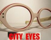 1960s Pink Big Eye vintage optical frames eyeglasses eye glasses sun sunglasses eyewear eye wear cat eye cateye retro 1950s