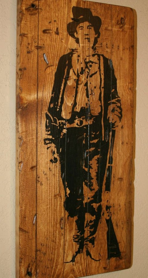 billy the kid western decor outlaw country rustic western decor custom wood - Western Decor