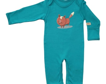 Blue Organic Baby Romper With Brown Fox